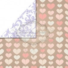 REVERSIBLE Vinyl Backdrop / Double sided / Pink Hearts and Purple Damask
