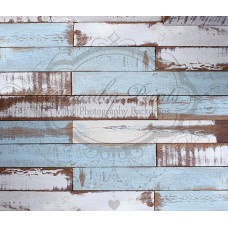 Blue White Painted Scuffed Wood Backdrop